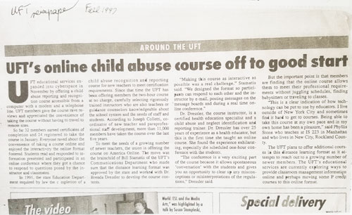 UFTs Online Child Abuse Course off to a Good Start