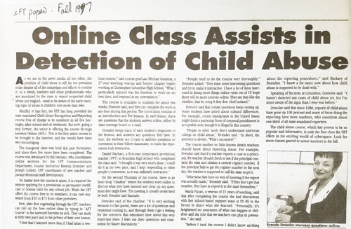 Online Class Assists in Detection of Child Abuse